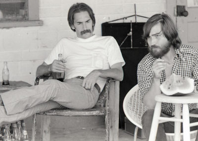 Writer Kim Henkel and Director Tobe Hooper taking a break from shooting