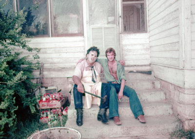 Gunnar Hansen and William Vail taking a break from shooting